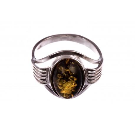 """Sidabrinis žiedas su gintaru """"Žalia rasa"""""""
