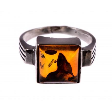 """Sidabrinis žiedas su gintaru """"Rudens Šlamesys"""""""