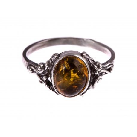 """Sidabrinis žiedas su gintaru """"Saulėlydis"""""""