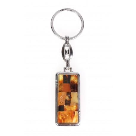Dvipusė gintaru dekoruota raktinė