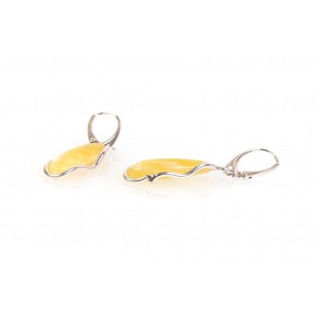 Gintaro - sidabro auskarai su geltonuoju gintaru