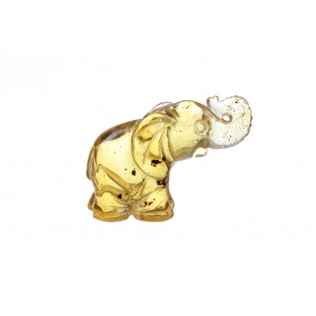 Geltono gintaro figūrėlė - drambliukas