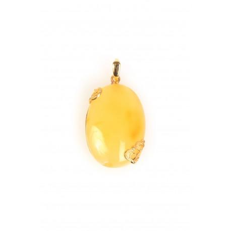 Puošnus geltonojo gintaro pakabukas