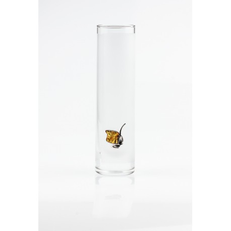 Gintaru sidabru dekoruota stiklinė vaza