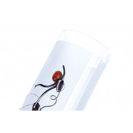 Gintaru ir sidabru dekoruota stiklinė vaza