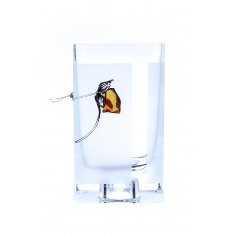 Gintaras, sidabras, stiklas, vaza, žvakidė