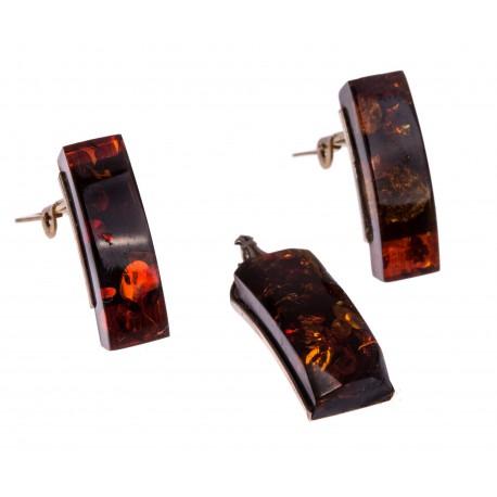 Antikvarinis auskarų ir pakabuko su gintaru rinkinys