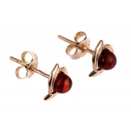 Minimalistiniai auksiniai auskarai su gintaru