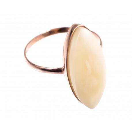 Auksinis žiedas su baltu gintaru