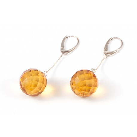 Silver earings with round - diamond polished amber