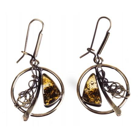Žalvariniai auskarai su skaidriu citrininiu gintaru