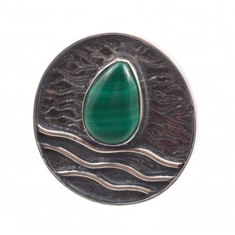Vienetinis sidabro žiedas su malachitu