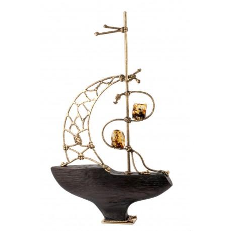 Gintaro, medžio ir bronzos kompozicija