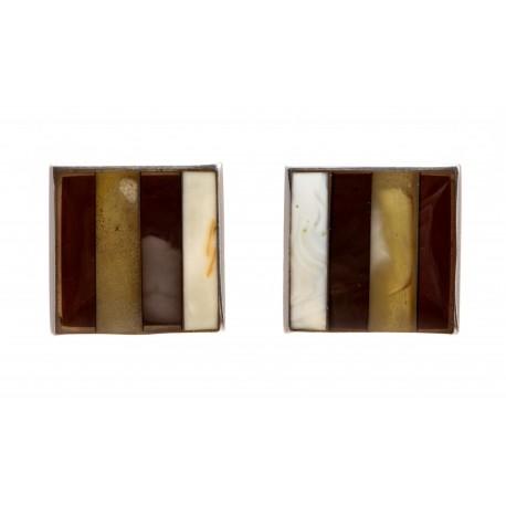 Kvadratinės balto, rudo ir citrininio gintaro sąsagos