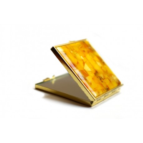 """Matiniu geltonuoju gintaru dekoruotas veidrodėlis """"Smėlynai"""""""