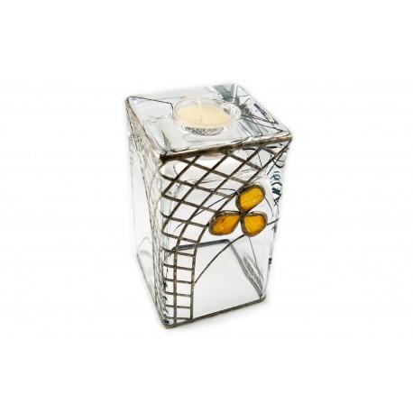 Gintaru ir alavu dekoruota stiklinė vaza - žvakidė