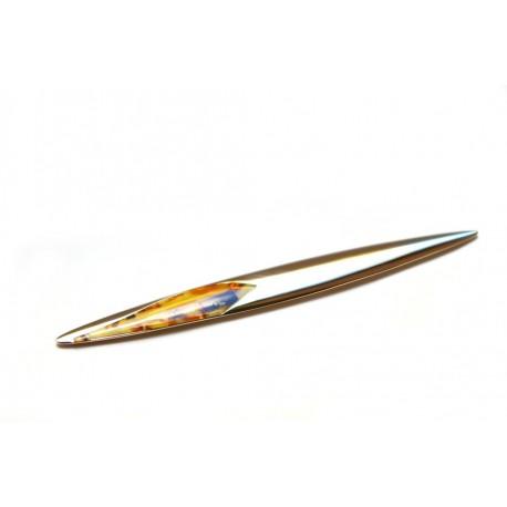 Plunksnos formos gintaru dekoruotas peilis vokams