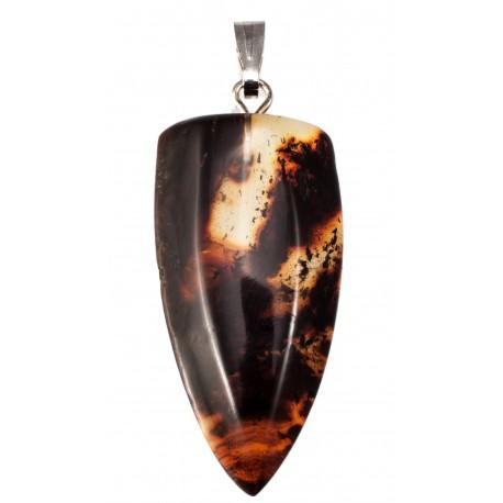 Baltijos gintaro pakabukas su metaline kilpele