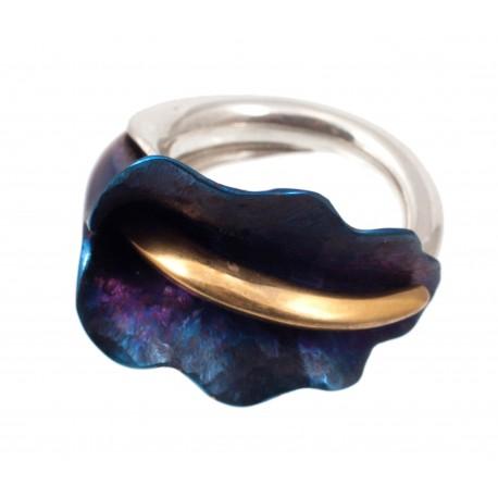 Sidabro, titano ir auksuoto žalvario žiedas