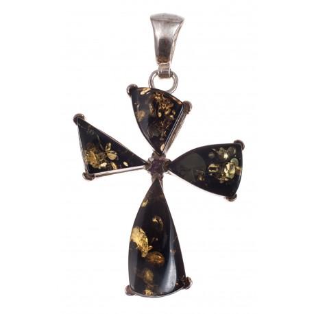Sidabrinis žaliojo gintaro pakabukas - kryžius