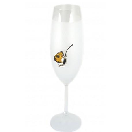 Stiklinės taurės su gintaru ir sidabru