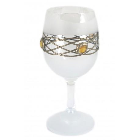 Stiklinės taurės su gintaru ir alavu