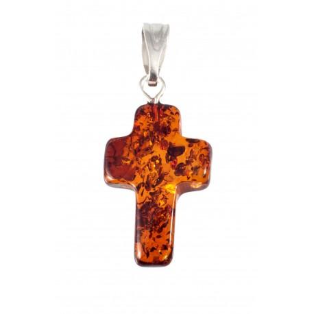 Skaidraus konjakinio gintaro kryžius
