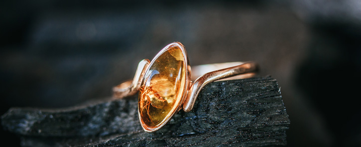 Gold amber ring with insect inclusion