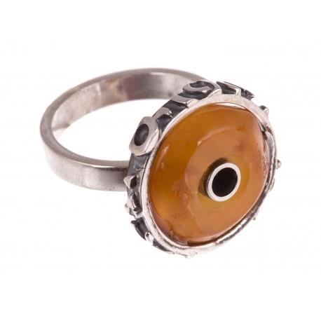 """Sidabrinis žiedas su gintaru """"Artefaktas"""""""