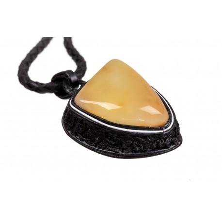 Juodas, odinis koljė su Citrininės ir geltonos spalvos gintaru