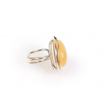 """Sidabrinis žiedas su gelsvu gintaru """"Purslų banga"""""""