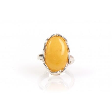 """Sidabrinis žiedas su matiniu gintaru """"Medaus slėnis"""""""