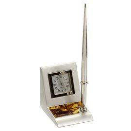 Metalinis rašiklis su margu gintaru dekoruotu stoveliu