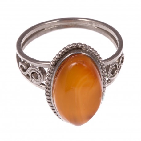 Antikvarinis žiedas su geltonu gintaru