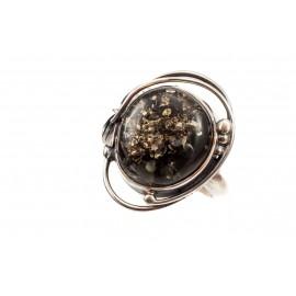 Sidabro - žaliojo gintaro žiedas