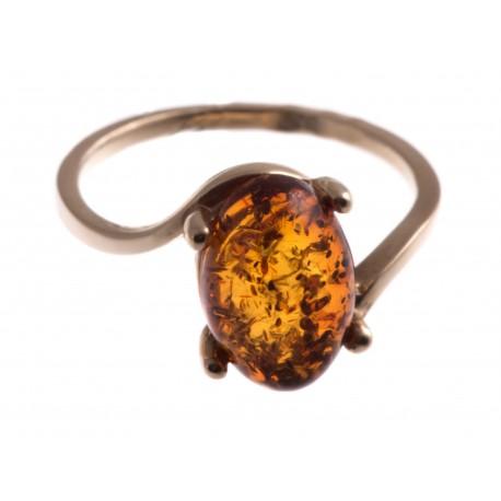 Auksinis žiedas su rudu gintaru