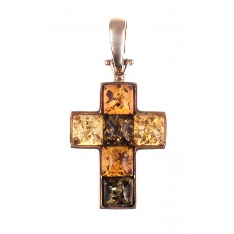 Auksinis kryželis su margaspalviais gintarais