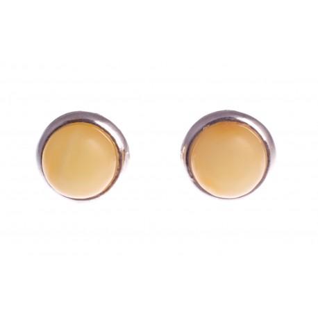 Geltono gintaro auskarai su sidabru