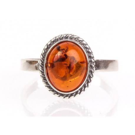 """Sidabrinis žiedas su gintaru """"Konjakinė svaja"""""""
