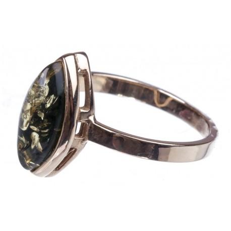Auksinis, žiedas, žalias, gintaras