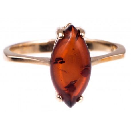 Auksinis žiedas su konjakiniu gintaru