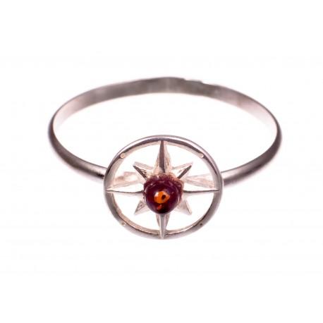 """Gintaro - sidabro žiedas """"Saulės ratas"""""""