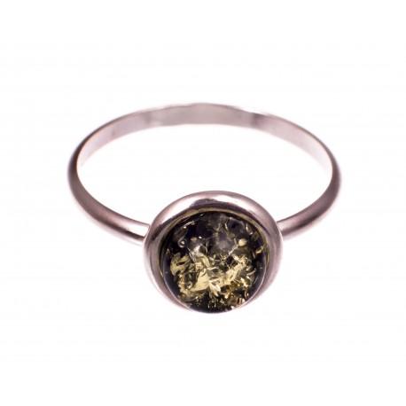 """Gintaro - sidabro žiedas """"Miško vėsa"""""""