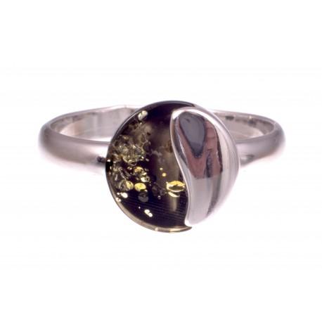 """Gintaro - sidabro žiedas """"Samanų patalai"""""""