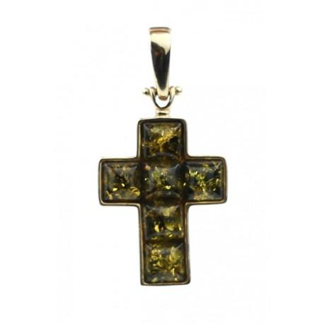Auksinis pakabukas - kryžiukas su žaliu gintaru