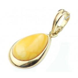 Auksinis pakabukas su matiniu gintaru