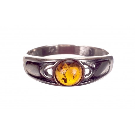 """Sidabro - gintaro žiedas """"Kometa"""""""