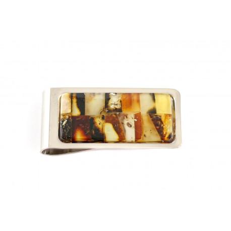 Pinigų segtukas su gintaro mozaikos kompozicija