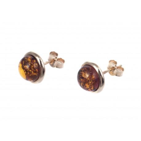 Auksiniai apvalūs auskarai su gintaru