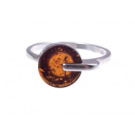 """Sidabrinis žiedas su konjakiniu gintaru """"Vasara prie jūros"""""""